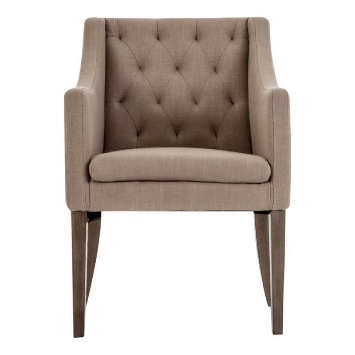 Chaise avec accoudoirs en tissus naturel vical home beige for Chaise tissu avec accoudoir