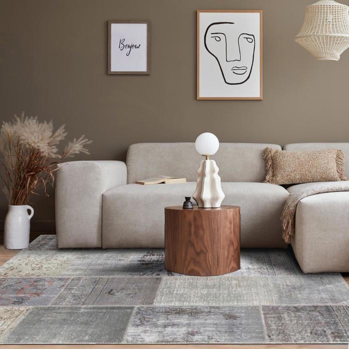 Tapis de haute qualit kilim class patchwork gris 200x290 for Linge de maison haute qualite