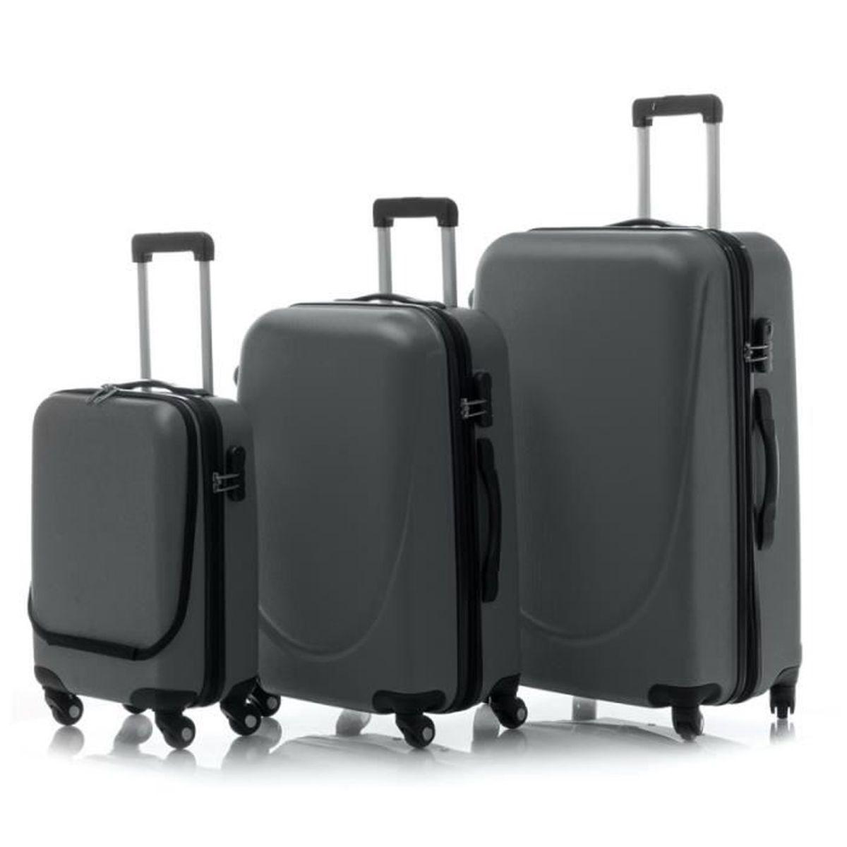 lot de 3 bagages valises pocket abs verrouillage gris gris. Black Bedroom Furniture Sets. Home Design Ideas