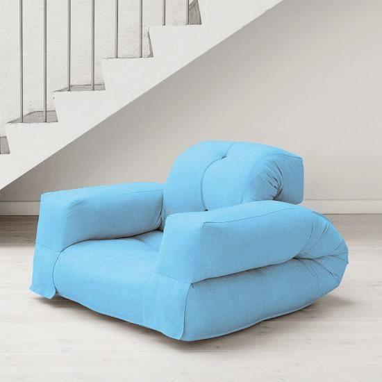 Fauteuil convertible hippo 90 futon bleu c leste achat vente fauteuil c - Fauteuil futon convertible ...