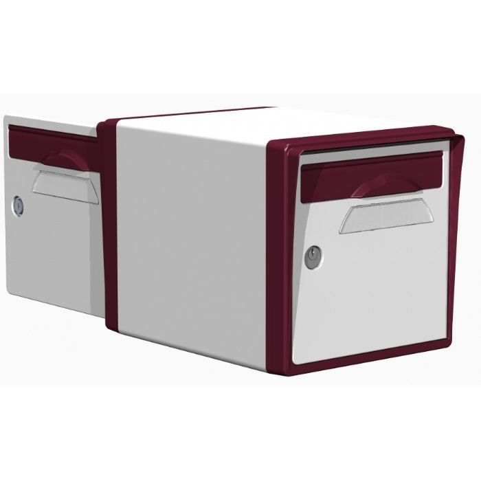boite aux lettres r sine 2 portes blanc bordeau achat vente boite aux lettres cdiscount. Black Bedroom Furniture Sets. Home Design Ideas
