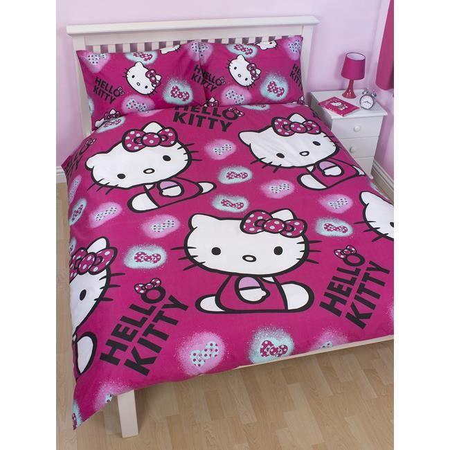 Parure de lit double hello kitty ink achat vente - Parure de lit hello kitty 2 personnes ...