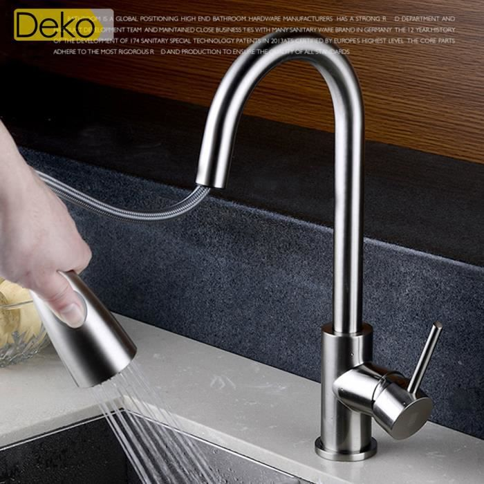 Ideko robinet mitigeur de cuisine tirable salle de bains for Robinet cuisine haut de gamme