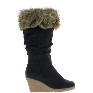 bottes femme compens es noires achat vente bottes femme compens es pas cher cdiscount. Black Bedroom Furniture Sets. Home Design Ideas