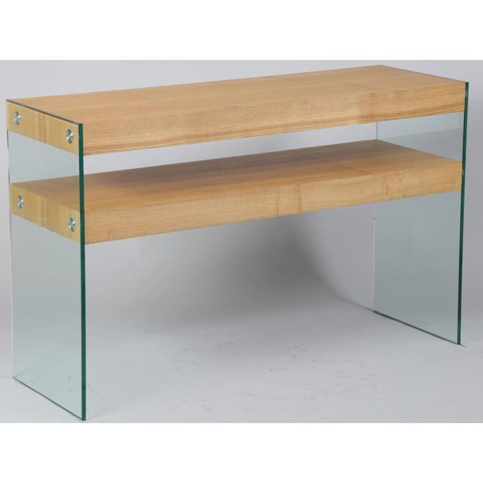 console en verre tremp et mdf plaqu fr ne naturel h750 x l1200 x l400 mm achat vente. Black Bedroom Furniture Sets. Home Design Ideas