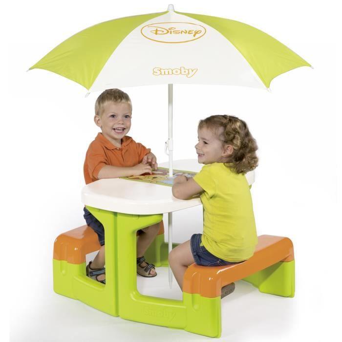 Winnie l 39 ourson table de pic nic parasol vert blanc et - Rehausseur de chaise winnie l ourson ...
