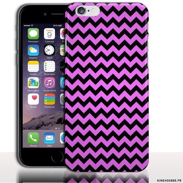 Housse silicone iphone 6 zig zag noir et rose achat for Housse silicone iphone 7