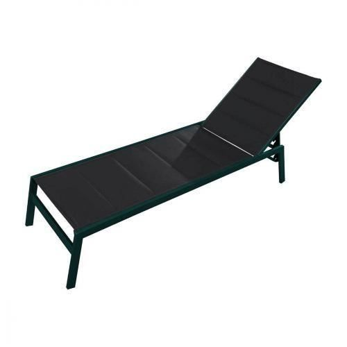 chaise longue pacific alu brosse textilene noir achat vente chaise longue chaise longue. Black Bedroom Furniture Sets. Home Design Ideas
