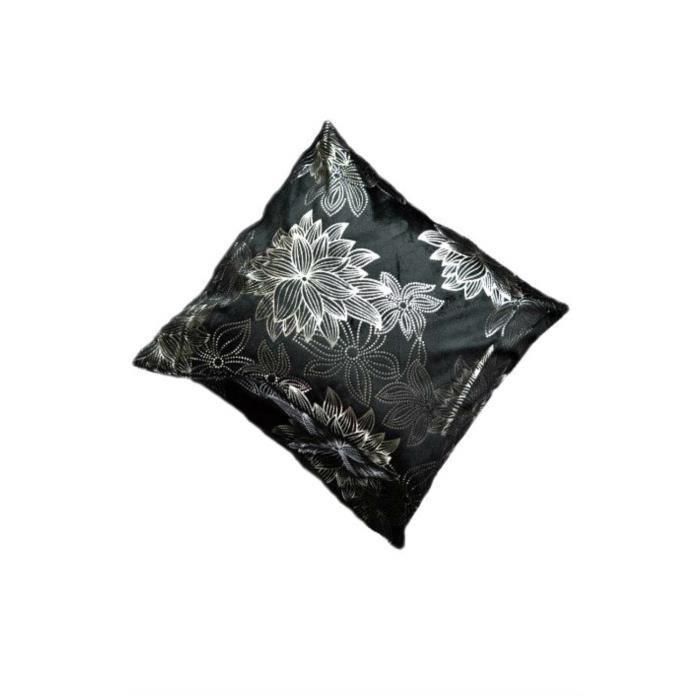 Housse de coussin motif marguerite en noir achat vente for Housse de coussin noir