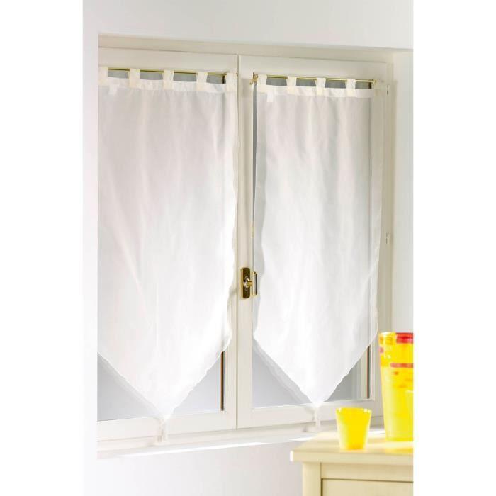 2 voilages de cuisine passants beige achat vente rideau cdiscount. Black Bedroom Furniture Sets. Home Design Ideas