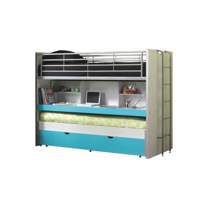 lit enfant superpos bureau laqu bleu turquoise bonny l90 l120 bleu achat vente lavabo. Black Bedroom Furniture Sets. Home Design Ideas