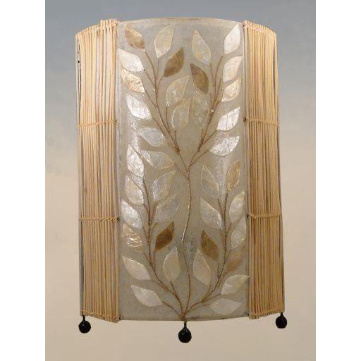 lampe exotique en nacre et bambou feuilles 50 cm achat vente lampe exotique en nacre et. Black Bedroom Furniture Sets. Home Design Ideas