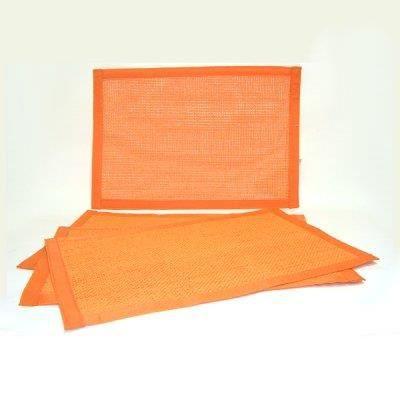 Sets de table par 4 tiss s bord tissu abricot achat for Sets de table tissu