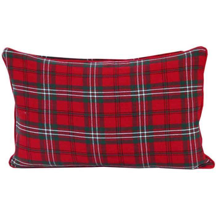 Coussin d houssable carreaux tartan rouge 30 x 50 cm - Housse de couette tartan ...