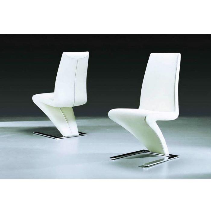 lot de 2 chaises zig zag blanche en acier chrom achat vente chaise cdiscount. Black Bedroom Furniture Sets. Home Design Ideas