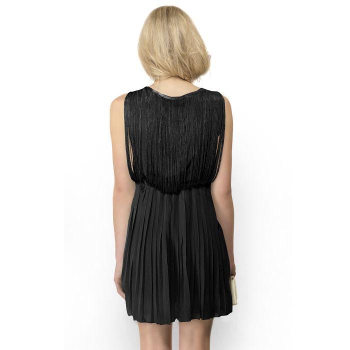robe franges avec jupe pliss e noir achat vente robe robe franges avec jupe pl cdiscount. Black Bedroom Furniture Sets. Home Design Ideas