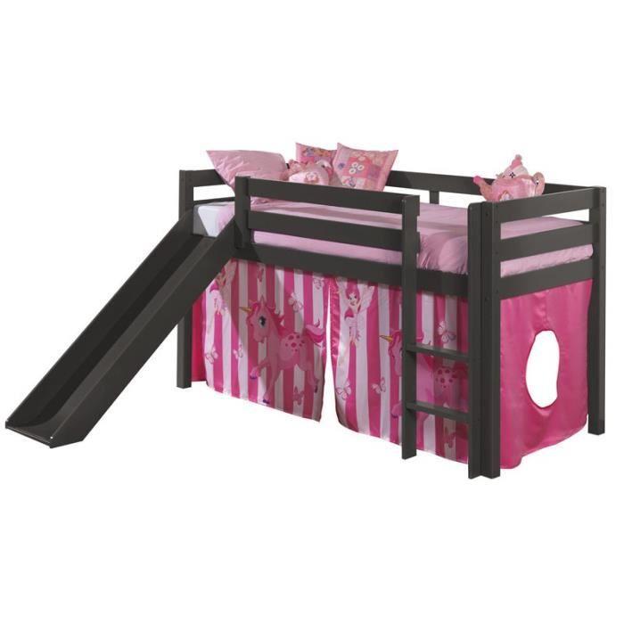 paris prix lit enfant avec toboggan pino poney gris achat vente lits superpos s paris. Black Bedroom Furniture Sets. Home Design Ideas