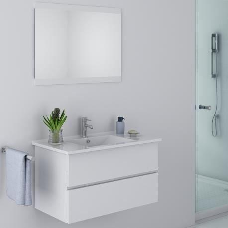 Meuble de salle de bain blanc design achat vente salle - Meubles salle de bain cdiscount ...