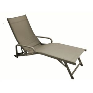 CHAISE LONGUE Fuji Relax + Accoudoirs Taupe/Taupe (Lot de 2)