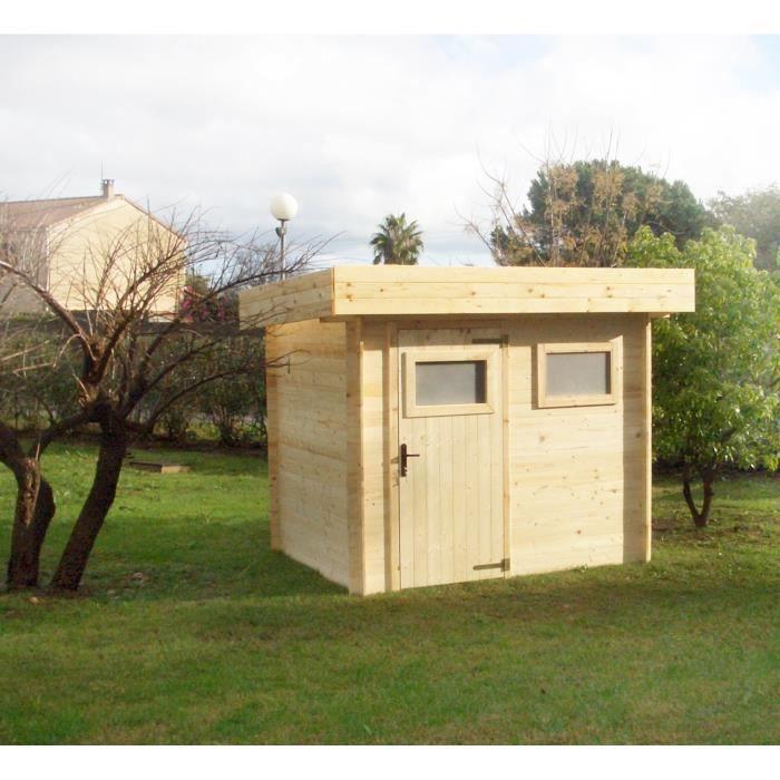 Abri de jardin bois brut emboit moderne 4 84m achat for Abri de jardin moderne