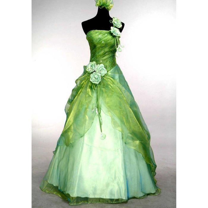 Robe de marie blanche et verte