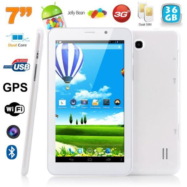 Tablette 3g 7 pouces android dual sim 36go blanc achat for Sm t580nzkaxef