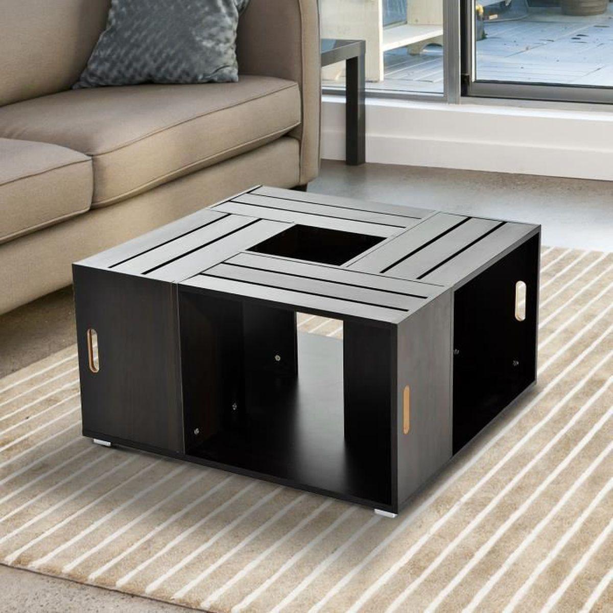 Cheap homcom table basse de salon design table dappoint for Table basse hilo