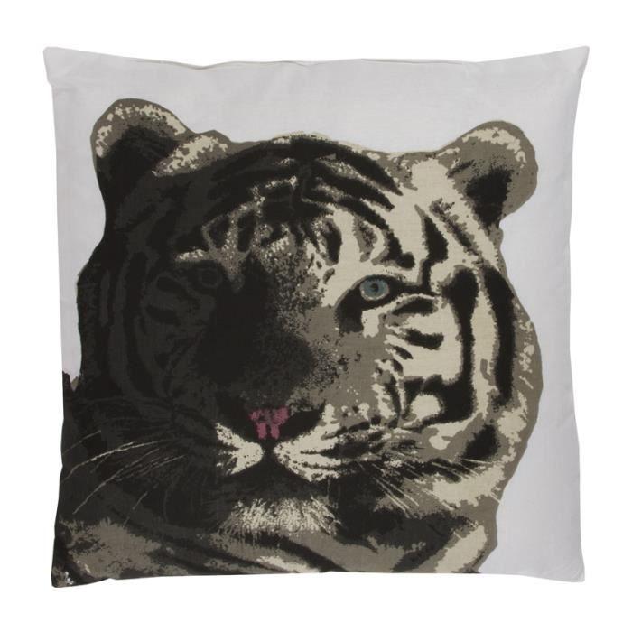 tigre coussin 40x40 blanc monbeaucoussin achat vente coussin cdiscount. Black Bedroom Furniture Sets. Home Design Ideas