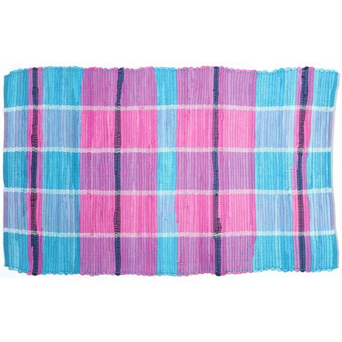 tapis cuisine madras coton bleu rose 60x100cm achat