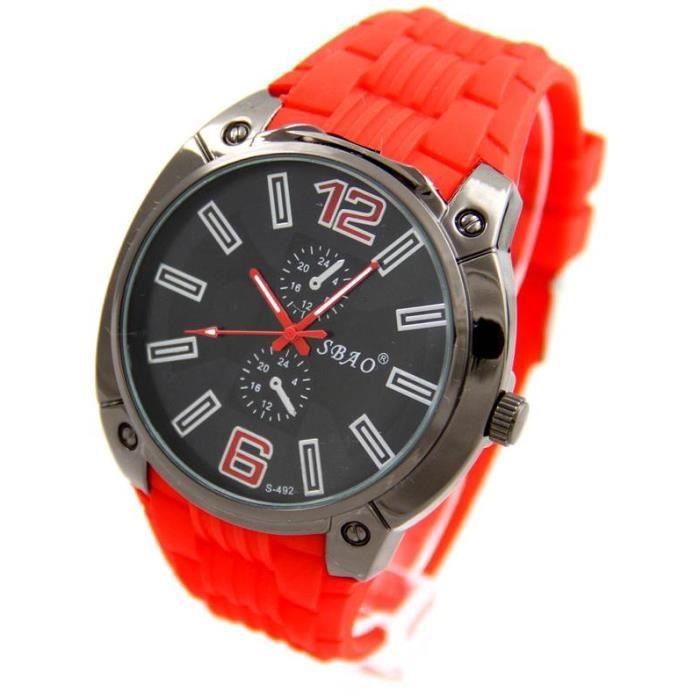 montre homme en bracelet silicone rouge pas ch re sbao 2633 achat vente montre cdiscount. Black Bedroom Furniture Sets. Home Design Ideas