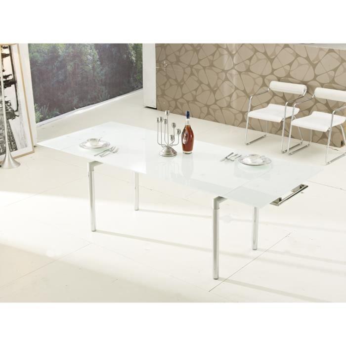 table en verre blanche avec rallonges achat vente. Black Bedroom Furniture Sets. Home Design Ideas