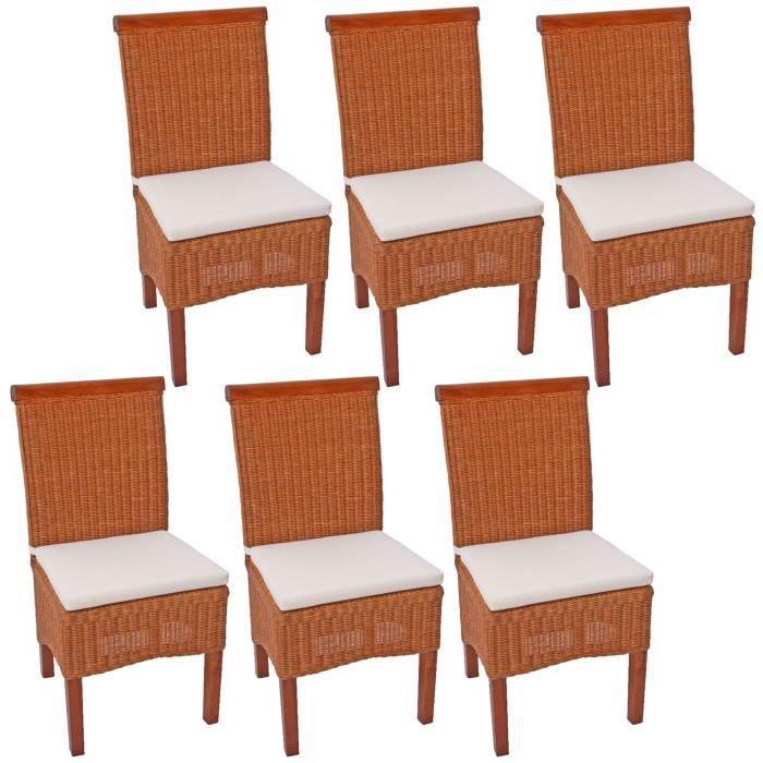 Lot de 6 chaises m42 salle manger rotin bois 46x50x96cm avec coussins achat vente - Lot de 6 chaises salle a manger ...