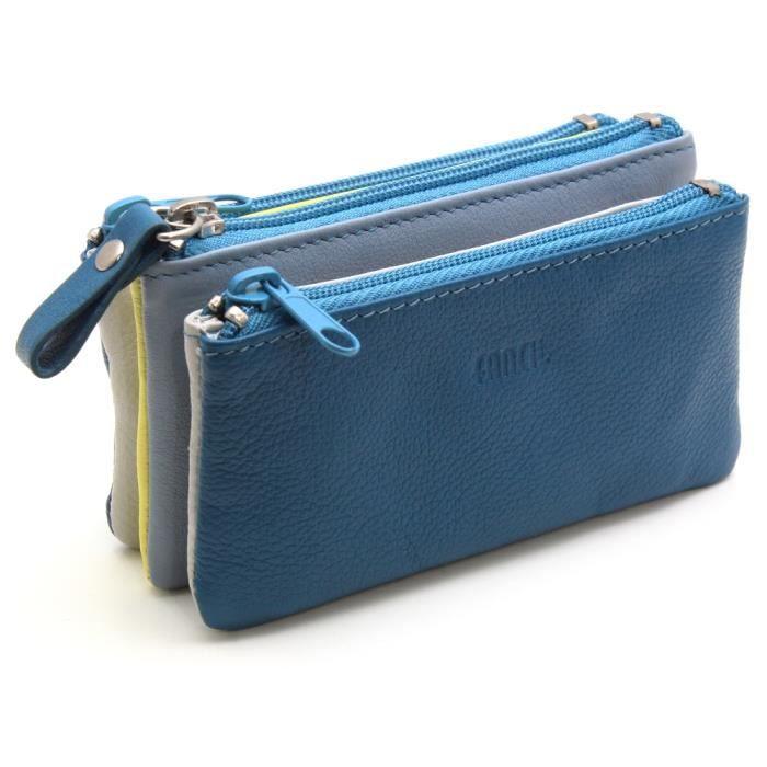 porte monnaie femme trieur en cuir bleu achat vente portefeuille 2009954906275 cdiscount. Black Bedroom Furniture Sets. Home Design Ideas