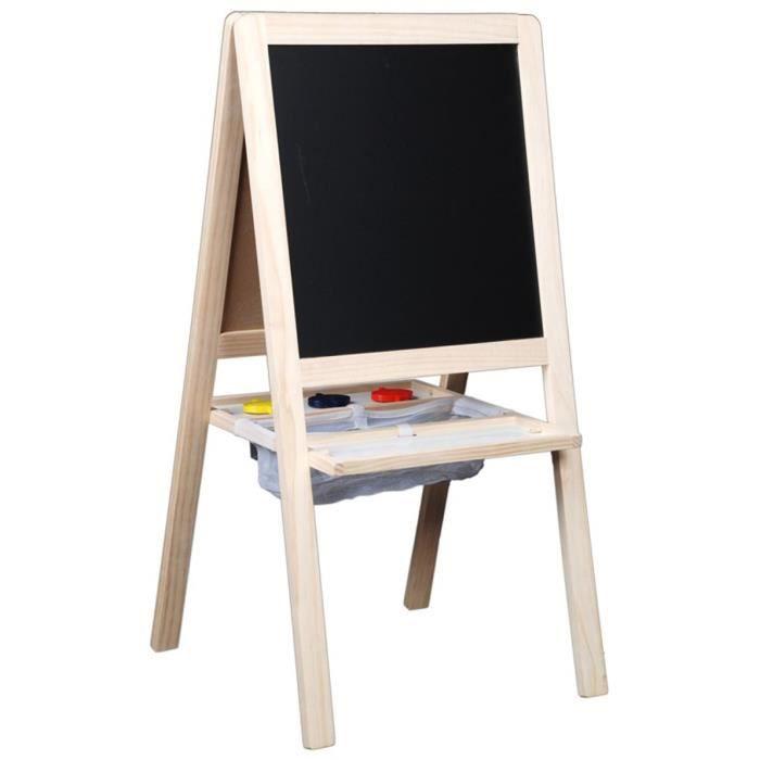 Tableau chevalet en bois junior 4 en 1 95 x 47 x 4 cm - Tableau enfant bois ...