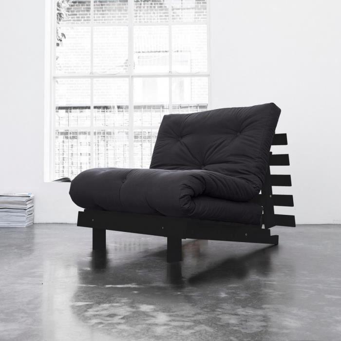pack matelas futon gris coton structure en bois weng 160x200 achat vente futon cdiscount. Black Bedroom Furniture Sets. Home Design Ideas