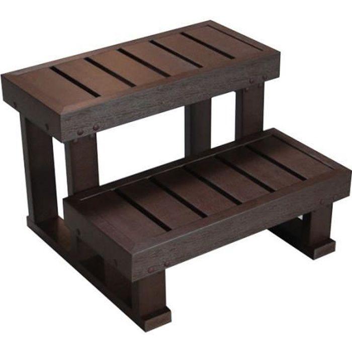 Escalier pour spa 2 marches marron spaln a achat for Escalier piscine amovible