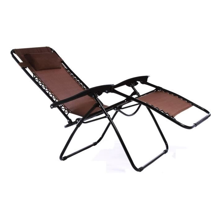 chaise transat pliable pour jardin piscine plage brun achat vente chaise longue chaise. Black Bedroom Furniture Sets. Home Design Ideas