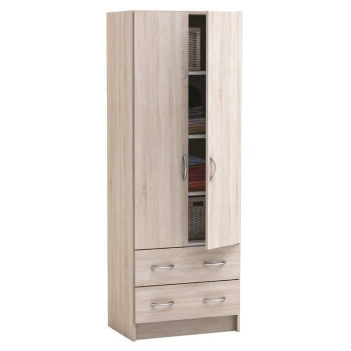 Armoires 2 portes 2 tiroirs galice ch ne achat vente for Armoire chambre 2 portes