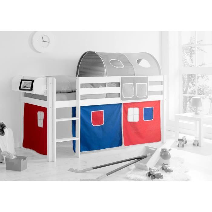 ensemble de 3 rideaux tissus pour lit mezzanine bleu rouge achat vente rideau cdiscount. Black Bedroom Furniture Sets. Home Design Ideas