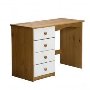 Bureau verona pin miel 4 tiroirs blanc achat vente for Bureau pin massif blanc