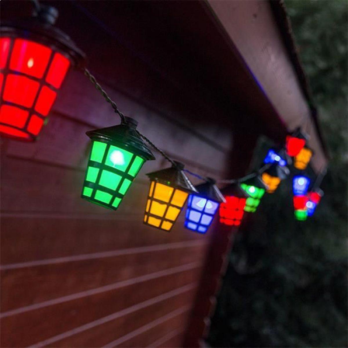 Guirlande de 20 lampions led color s lumineux for Lampions exterieur led