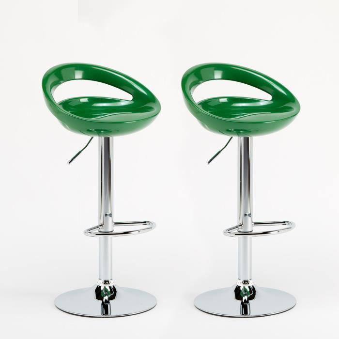 2 tabourets vert haut pour bar et cuisine tournant quip - Tabouret haut de cuisine ...