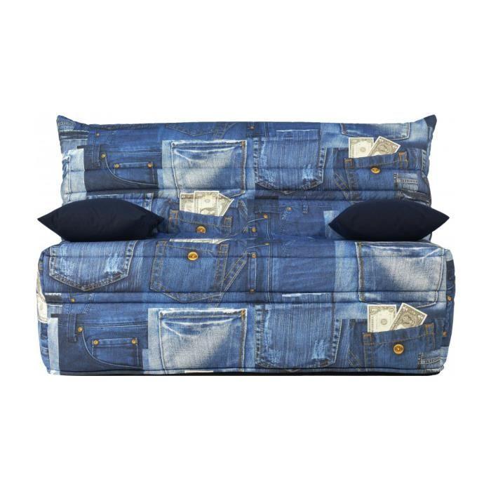 Banquette bz tissu motif jean matelas 140x190 sofaflex mousse achat vente - Banquette clic clac 140x190 ...