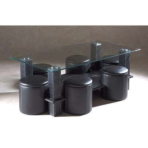 Table basse 6 poufs siassi noir achat vente table - Table basse 6 poufs noir ...