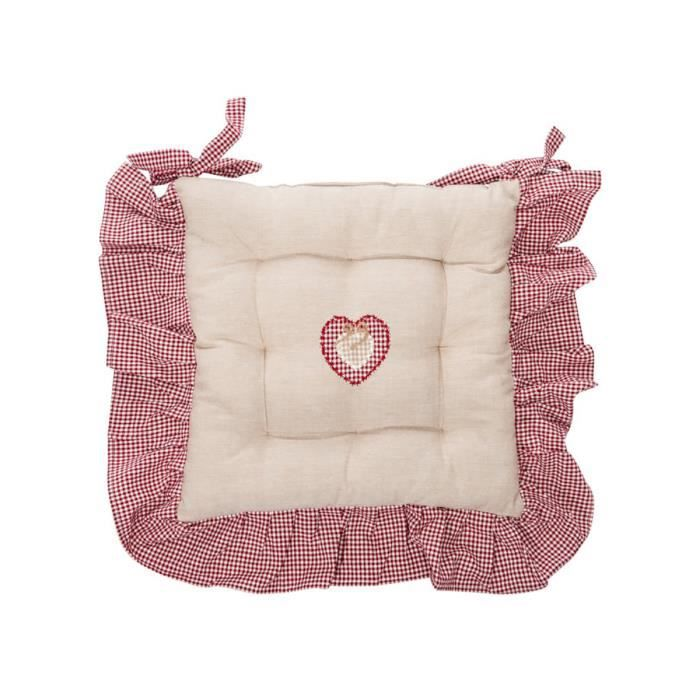 Jolipa galette de chaise lin et rouge jolip achat - Galette de chaise style campagne ...