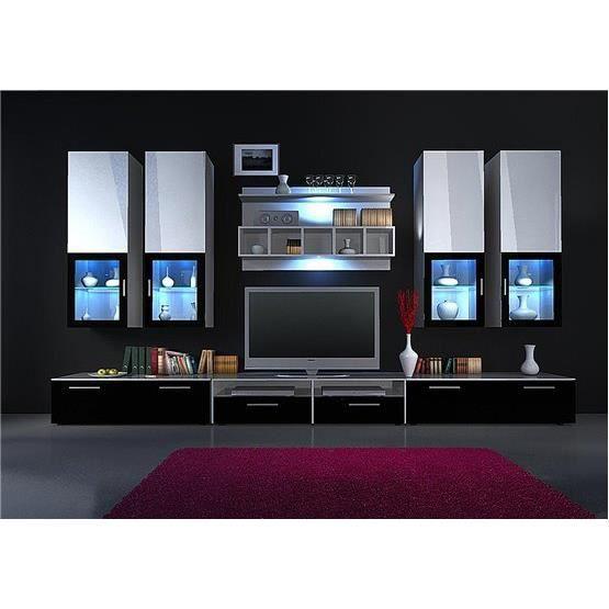 Meuble tv design mural rapheo blanc et noir composition bois achat ve - Composition meuble tv design ...