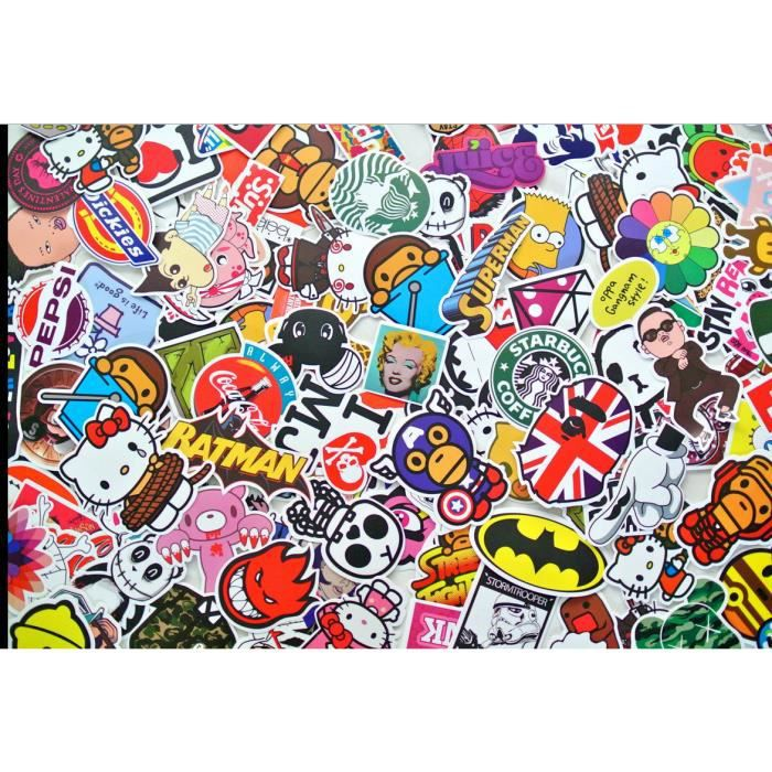 lot 100 stickers dont marques skateboard pour skate velo ordi guitare sticker bombing achat. Black Bedroom Furniture Sets. Home Design Ideas