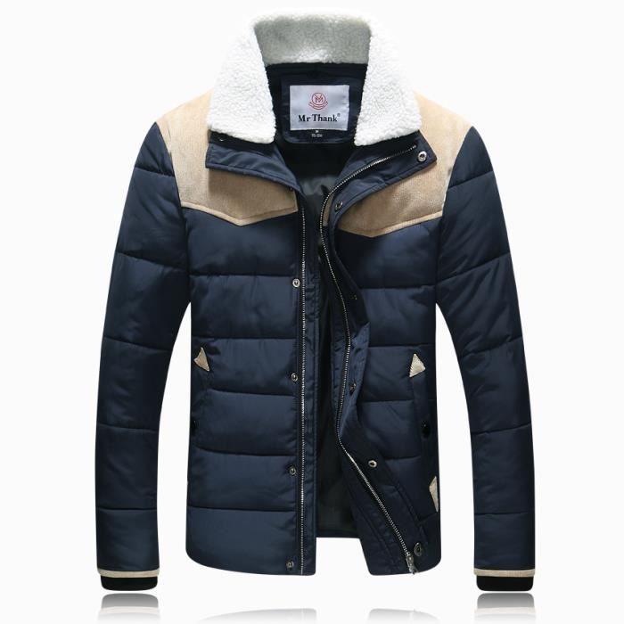 doudoune blouson homme hiver shirt col coton veste manteau hommes marine achat vente. Black Bedroom Furniture Sets. Home Design Ideas