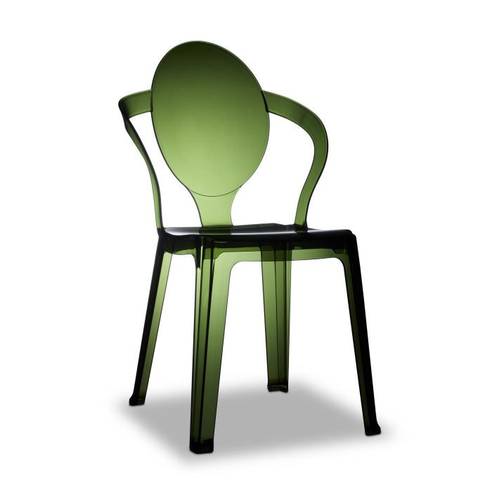 Chaise transparente verte design spoon transp achat for Chaise transparente design