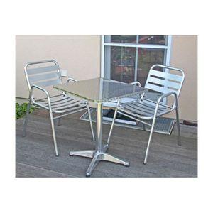Table de bistrot 2 chaises aluminium terrasse achat vente salon de jardin table de bistrot - Mobilier de jardin resistant aux intemperies ...